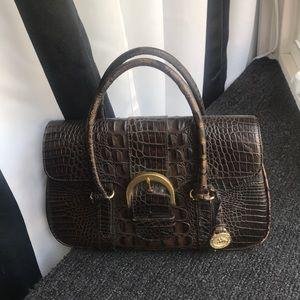 Brahmin dark brown leather handbag buckle like new